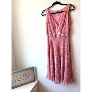 Maggy London Size 8 V-neck Pink Midi Silk Dress